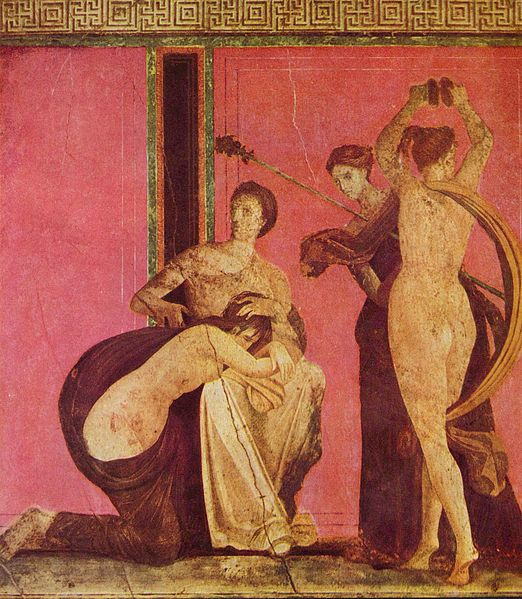 The Villa of the Mysteries, Fresco depicting a Bacchian rite, Pompeii