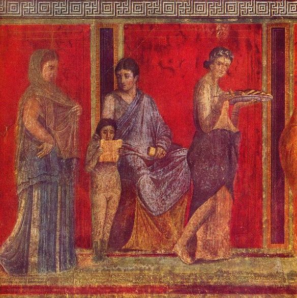 The Villa of the Mysteries, Fresco depicting the reading of the rituals of the bridal mysteries, Pompeii