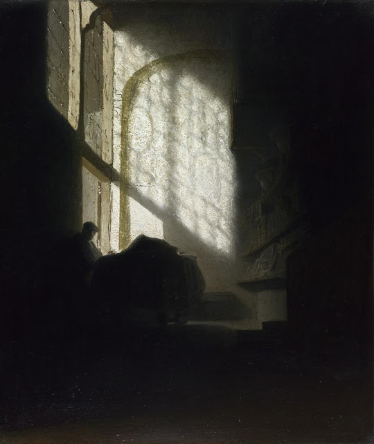 Follower of Rembrandt, 'A Man seated reading at a Table in a Lofty Room', ca. 1628-30