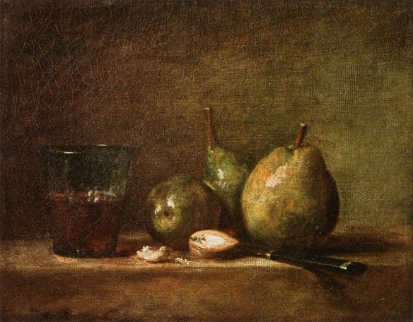 JeanSiméonChardin-Pears,WalnutsandGlass of Wine