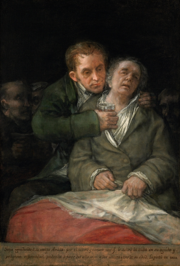 Francisco Jose de Goya y Lucientes - Self-Portrait with Dr. Arrieta, 1820.