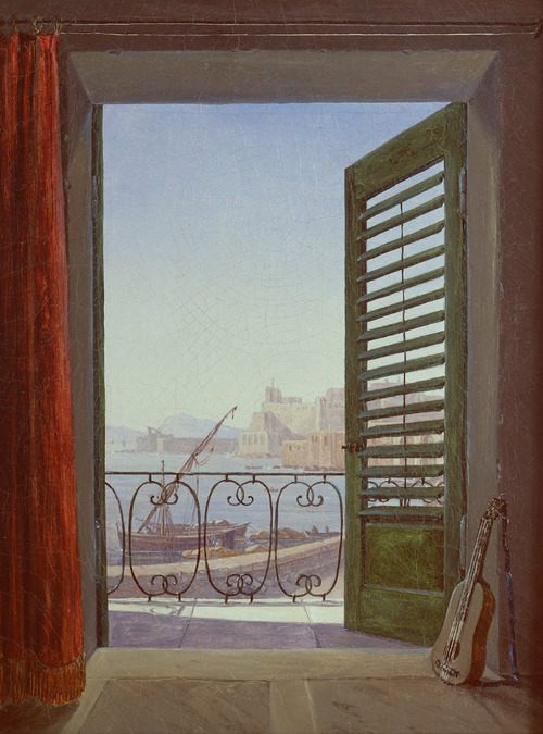 Carl Gustav Carus, Balcony Room with a View of the Bay of Naples,  c.1829.
